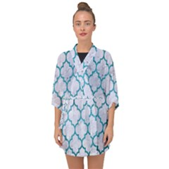 Tile1 White Marble & Teal Brushed Metal (r) Half Sleeve Chiffon Kimono