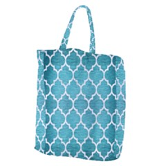 Tile1 White Marble & Teal Brushed Metal Giant Grocery Zipper Tote by trendistuff