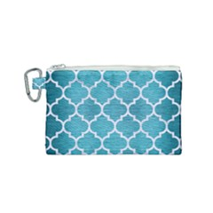 Tile1 White Marble & Teal Brushed Metal Canvas Cosmetic Bag (small)