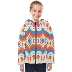 Symmetric Distorted Shapes                             Kids  Hooded Puffer Jacket