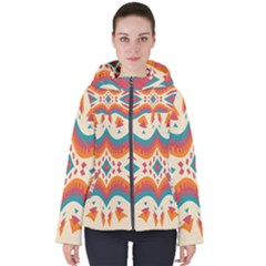 Symmetric Distorted Shapes                             Women s Hooded Puffer Jacket