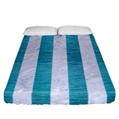 Stripes1 White Marble & Teal Brushed Metal Fitted Sheet (queen Size) by trendistuff