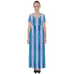 Stripes1 White Marble & Teal Brushed Metal High Waist Short Sleeve Maxi Dress