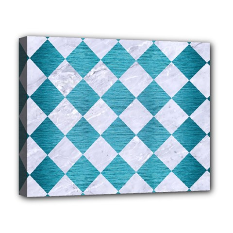 Square2 White Marble & Teal Brushed Metal Deluxe Canvas 20  X 16   by trendistuff