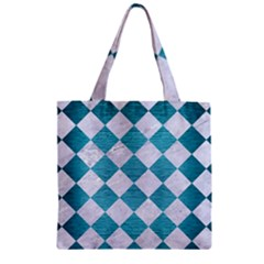 Square2 White Marble & Teal Brushed Metal Zipper Grocery Tote Bag by trendistuff