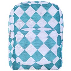Square2 White Marble & Teal Brushed Metal Full Print Backpack