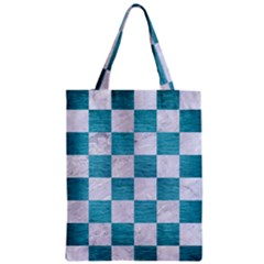 Square1 White Marble & Teal Brushed Metal Zipper Classic Tote Bag by trendistuff