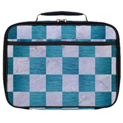 Square1 White Marble & Teal Brushed Metal Full Print Lunch Bag