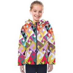 Colorful Shapes                              Kids  Hooded Puffer Jacket