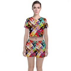 Colorful Shapes                         Crop Top And Shorts Co Ord Set by LalyLauraFLM