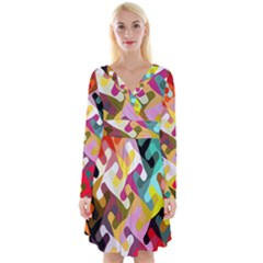Colorful Shapes                                  Long Sleeve Front Wrap Dress