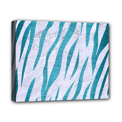 Skin3 White Marble & Teal Brushed Metal (r) Canvas 10  X 8  by trendistuff