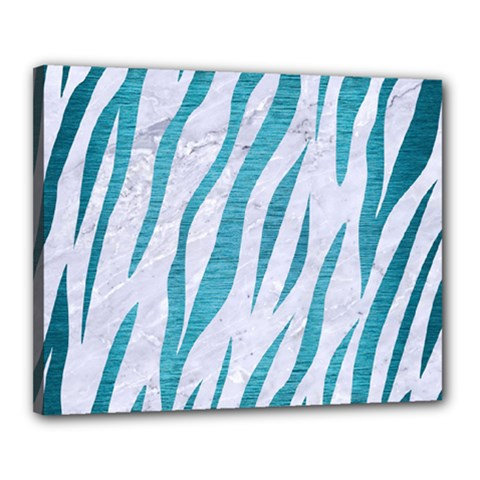 Skin3 White Marble & Teal Brushed Metal (r) Canvas 20  X 16  by trendistuff