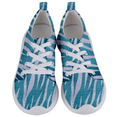 Skin3 White Marble & Teal Brushed Metal Women s Lightweight Sports Shoes