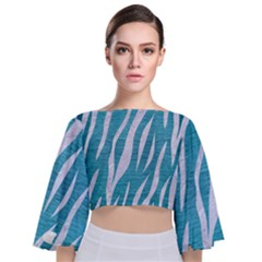 Skin3 White Marble & Teal Brushed Metal Tie Back Butterfly Sleeve Chiffon Top