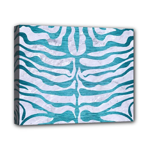 Skin2 White Marble & Teal Brushed Metal (r) Canvas 10  X 8  by trendistuff