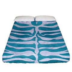 Skin2 White Marble & Teal Brushed Metal Fitted Sheet (queen Size) by trendistuff