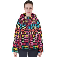 Colorful Rhombus And Triangles                               Women s Hooded Puffer Jacket