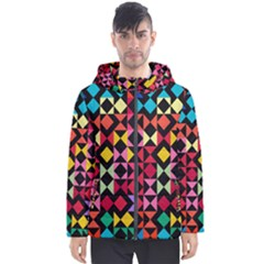 Colorful Rhombus And Triangles                                Men s Hooded Puffer Jacket