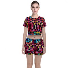 Colorful Rhombus And Triangles                          Crop Top And Shorts Co Ord Set