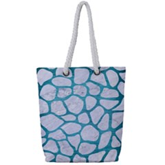 Skin1 White Marble & Teal Brushed Metal Full Print Rope Handle Tote (small) by trendistuff