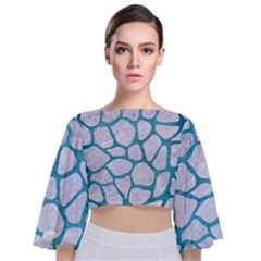 Skin1 White Marble & Teal Brushed Metal Tie Back Butterfly Sleeve Chiffon Top