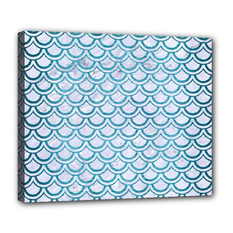 Scales2 White Marble & Teal Brushed Metal (r) Deluxe Canvas 24  X 20   by trendistuff