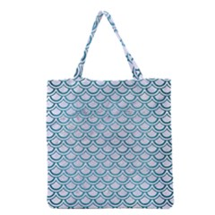Scales2 White Marble & Teal Brushed Metal (r) Grocery Tote Bag by trendistuff
