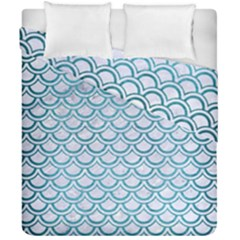 Scales2 White Marble & Teal Brushed Metal (r) Duvet Cover Double Side (california King Size) by trendistuff