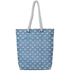 Scales2 White Marble & Teal Brushed Metal (r) Full Print Rope Handle Tote (small) by trendistuff