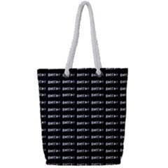 Bored Comic Style Word Pattern Full Print Rope Handle Tote (small) by dflcprints