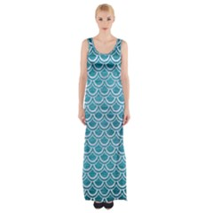 Scales2 White Marble & Teal Brushed Metal Maxi Thigh Split Dress by trendistuff