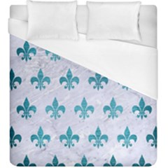 Royal1 White Marble & Teal Brushed Metal Duvet Cover (king Size) by trendistuff