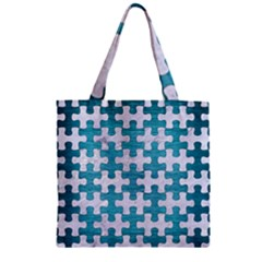 Puzzle1 White Marble & Teal Brushed Metal Zipper Grocery Tote Bag by trendistuff