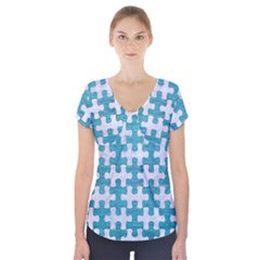 Puzzle1 White Marble & Teal Brushed Metal Short Sleeve Front Detail Top by trendistuff