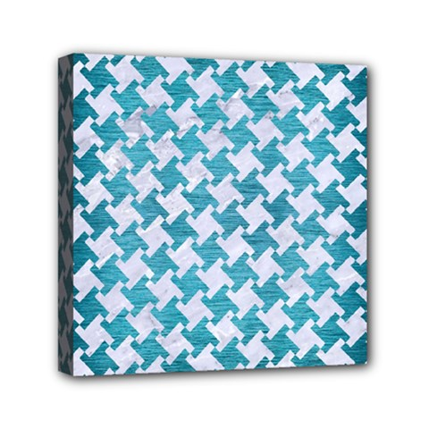 Houndstooth2 White Marble & Teal Brushed Metal Canvas Travel Bag by trendistuff