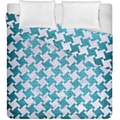 Houndstooth2 White Marble & Teal Brushed Metal Duvet Cover Double Side (king Size) by trendistuff