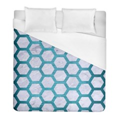 Hexagon2 White Marble & Teal Brushed Metal (r) Duvet Cover (full/ Double Size) by trendistuff