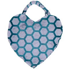 Hexagon2 White Marble & Teal Brushed Metal (r) Giant Heart Shaped Tote by trendistuff