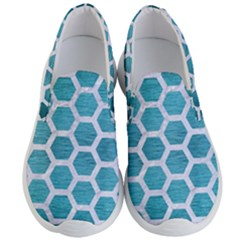 Hexagon2 White Marble & Teal Brushed Metal Men s Lightweight Slip Ons