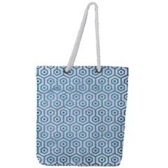 Hexagon1 White Marble & Teal Brushed Metal (r) Full Print Rope Handle Tote (large) by trendistuff
