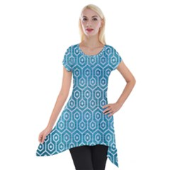 Hexagon1 White Marble & Teal Brushed Metal Short Sleeve Side Drop Tunic by trendistuff