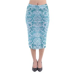 Damask2 White Marble & Teal Brushed Metal Midi Pencil Skirt by trendistuff