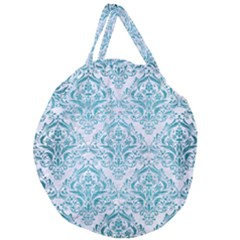 Damask1 White Marble & Teal Brushed Metal (r) Giant Round Zipper Tote by trendistuff