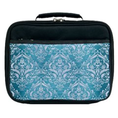 Damask1 White Marble & Teal Brushed Metal Lunch Bag by trendistuff
