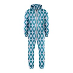 Circles3 White Marble & Teal Brushed Metal (r) Hooded Jumpsuit (kids)