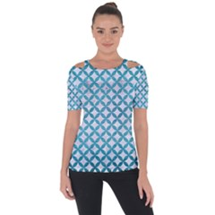 Circles3 White Marble & Teal Brushed Metal (r) Short Sleeve Top