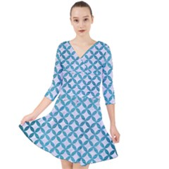 Circles3 White Marble & Teal Brushed Metal (r) Quarter Sleeve Front Wrap Dress