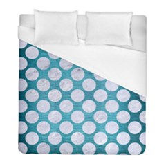 Circles2 White Marble & Teal Brushed Metal Duvet Cover (full/ Double Size) by trendistuff
