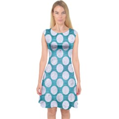 Circles2 White Marble & Teal Brushed Metal Capsleeve Midi Dress